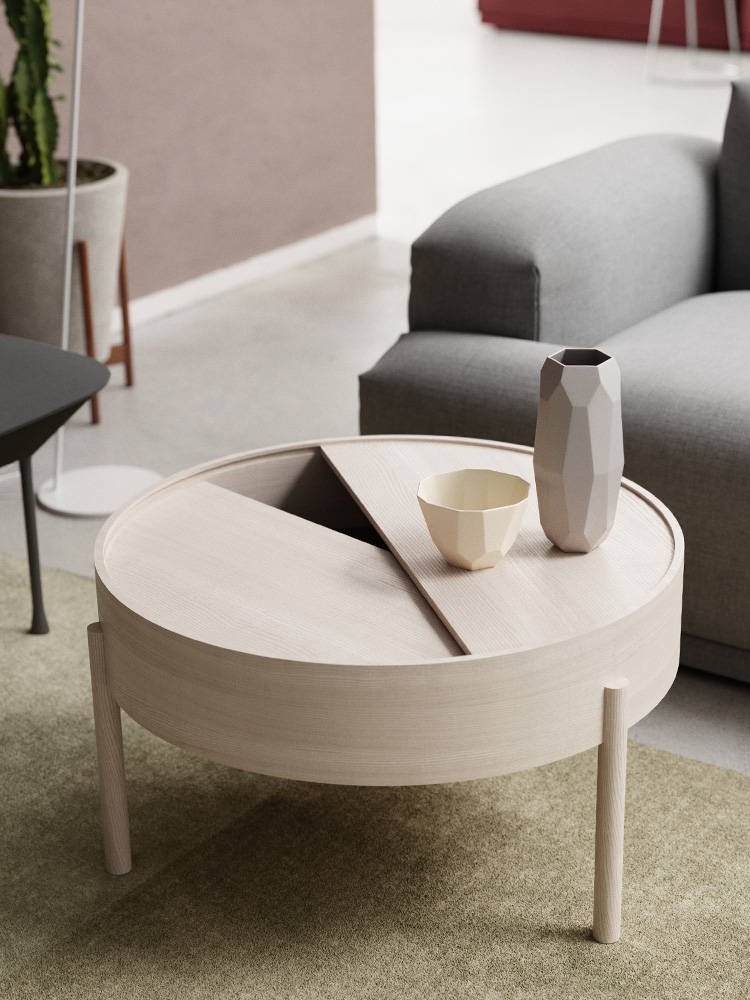 Turntable Turntable Is A Simple Side Table With A Hidden Storage Space By Simply Rotating Half Of The Circular Lid The Expression Is Ever Changeable The Three Legged Construction Adds A Playful And Light Touch To The Geometric Shaped Design Based On